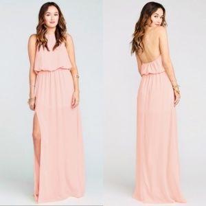 SMYM Heather Halter Frosty Pink Maxi Dress size S